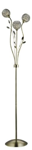 Bellis Ii - 3 Light Floor Lamp, Antique Brass With Clear Glass Deco Shades 3573Ab (Double Insulated)